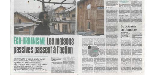 """""""Éco-urbanisme, les maisons passives passent à l'action"""", Libération, mercredi 2 janvier 2019"""